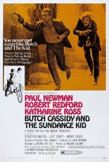"""""""Butch Cassidy and the Sundance Kid"""" Two Western bank/train robbers flee to Bolivia when the law gets too close. Directed by George Roy Hill. With Paul Newman, Robert Redford, Katharine Ross, Strother Martin. Best Movie Posters, Cinema Posters, Robert Redford, Paul Newman, George Roy Hill, Image Internet, Katharine Ross, Westerns, Sundance Kid"""
