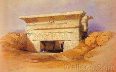 David Roberts Paintings : The Ancient Egpyt and Egyptian Architectures (Vol.02) - Ancient Egyptian Temple : Temple Of Hathor Dendera, 1838 17