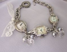 Vintage Watch Bracelet Pearl Repurposed Bracelet Vintage Button Charm Bracelet Sterling Silver Gold Filled Assemblage Jewelry - JryenDesigns. $83.00, via Etsy.