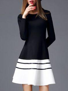 Designer:  Natural House   Black Casual Color-block Mini Dress at www.stylewe.com