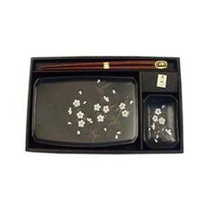 2 piece Japanese Sushi Plate Set w/ Chopsticks Black Ume by Khafuh Japan. $19.50