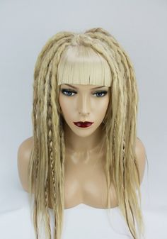 Mixed Blonde Wig With Full Synthetic Crocheted Dreads.