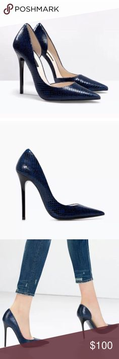 ✨HP✨ Zara Navy Snakeskin D'Orsay Pumps NWT Fabulous pumps from Zara. Never worn, new with tags, no box. Sadly, I'm actually re-Poshing these because they don't fit - my loss, your gain! Lucky you! These are sold out everywhere and impossible to find. The heels are GORGEOUS! Price firm on these. Size EU 38. Please know your size as there are no returns. Zara Shoes Heels