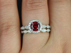 Sunny 14kt White Gold Crimson Ruby & Diamond Flower Halo WITH Milgrain Wedding Set (Other metals and stone options available)