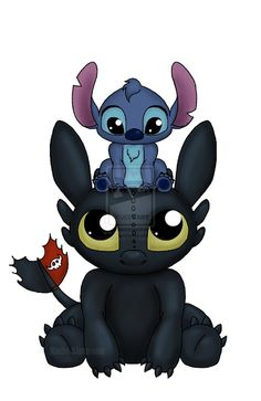 Can I Sit Here... #toothless #stitch #liloandstitch