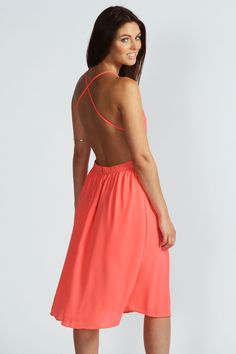 Kerry Cross Back Solid Colour Midi Dress