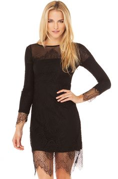 AKIRA's Sophisticated Lace Dress in Black features a scoop neck with mesh top, open lace overlay, fully lined bodice & skirt, partial lined sleeves, and an invisible side zipper closure. Free U.S. Shipping on orders $75 and over on SHOPAKIRA.COM