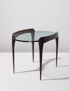 Max Ingrand; Mahogany and Glass Side Table for Fontana Arte, c1954.