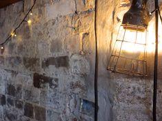Exposed Brick and Industrial Light - Arcadia Liquors in Redfern Industrial Interior Design, Exposed Brick, Industrial Lighting, Vintage Decor, Liquor, Wall Lights, Design Ideas, Rustic, Furniture