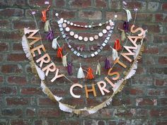 ZUZU 'Merry Christmas' 43GBP Christmas Decor pack - Hand-painted vintage Christmas handmade paper decor,letter banner,paper garlands,tassels by paperstreetdolls on Etsy