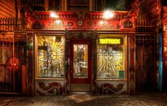 """Trey Ratcliff said, """"Found this colorful tattoo shop while roaming the streets of San Francisco, CA."""" from Stuck in Customs Tattoo Studio Interior, Tattoo Care, Hdr Photography, Tattoo Parlors, San Fransisco, Wedding Tattoos, Great Night, Shop Interiors, Tattoo Shop"""