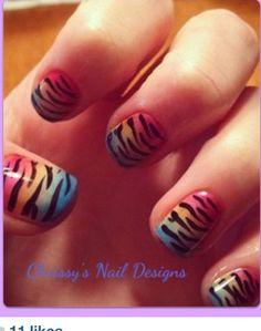 Ombré and zebra shellac design!