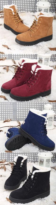 US$19.54 Women Keep Warm Flat Ankle Snow Boots - Black would be nicer but the red is ok. Warm is what counts. https://www.amazon.com/gp/search?ie=UTF8&tag=motorsports06-20&linkCode=ur2&linkId=3c8959b0e3cd9d30b5f52086bcd35447&camp=1789&creative=9325&index=apparel&keywords=shoes