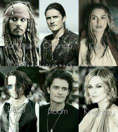 Cast of Pirates of the Caribbean! Dc Movies, Good Movies, Pixar Movies, Elizabeth Swann, Johny Depp, Pirate Life, Disney Memes, Orlando Bloom, Will Turner