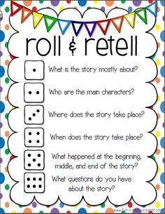 Roll & Retell:  Fun way to discuss a story.  Link goes to PDF printable on Google Drive.  Thanks Fun-in-First blog!                                                                                                                                                                                 More