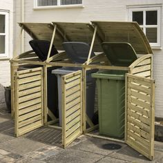 triple wheelie bin storage - Google Search