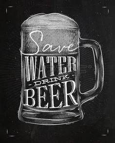 dessin biere: bière Affiche lettrage de verre sauver eau boisson dessin de la bière dans le style vintage avec de…