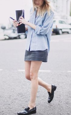 Minimal + Classic: Camille on denim & loafers