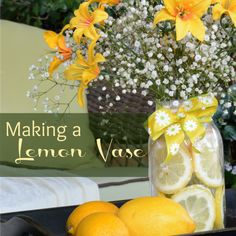 Want a quick and simple way to dress up a summer table? Join me today as we make a Super Simple Lemon Vase - complete with the fresh scent of lemons. Flower Arrangements Simple, Vase Arrangements, Lemon Vase, Summer Centerpieces, Table Centerpieces, Table Decorations, Wedding Table Centres, Unique Bridal Shower, Tomato Cages