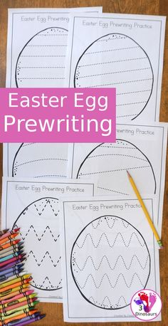Easter Egg Theme Prewriting - Fine Motor - Free Easter Egg Theme Prewriting – 8 fun pages with an Easter egg theme for kids to trace and hav - April Preschool, Preschool Learning, Preschool Activities, Easter Activities For Preschool, Preschool Worksheets, Montessori, Easter Eggs, Easter Table, Easter Party