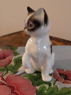 Porcelain Cat Figurine by TheGildedKeyhole on Etsy