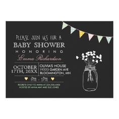 Modern Chalkboard Yellow Baby Shower invitation