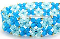 Aqua Blue Bracelet Jewelry Gold Teal Sparkly by BeadedSeasons