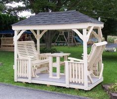Amish Outdoor Furniture, Swings, Gliders and Arbors built by Lawn Swings Backyard Swings, Backyard Seating, Patio Gazebo, Garden Gazebo, Pergola Plans, Backyard Patio, Backyard Landscaping, Outdoor Swings, Pergola Ideas