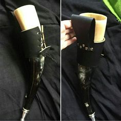 Drinking horn with leather holder