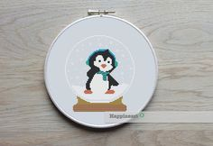 christmas cross stitch pattern penguin snow globe by Happinesst