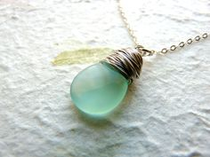 Amazonite necklace sterling silver necklace stone by Lalinne, $28.00