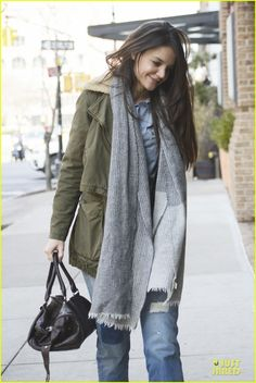 Katie Holmes. Love the military style jacket. Love big scarves paired with jeans. Jacket and jeans seem like Old Navy style, have actually bought a military jacket from there before. Macy's has great scarves in the winter season.
