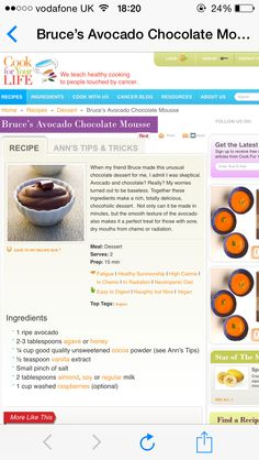 Avocado chocolate mousse Dessert Recipes, Desserts, Home Recipes, Mousse, Avocado, Chocolate, Cooking, Healthy, Blog