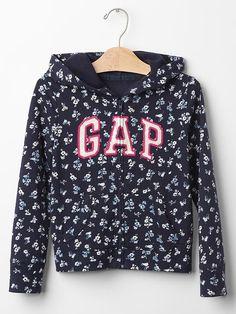 Floral embellished logo zip hoodie