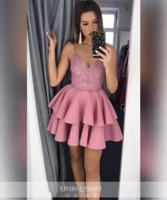 Find Short Prom Dresses For Sweet High School Prom, Graduation or Wedding Party? Come Here to Buy A-line V-Neck Layered Short Prom Dress Appliques Homecoming Dress that speaks to you and your unique personality. Short Graduation Dresses, Cheap Homecoming Dresses, Prom Outfits, Hoco Dresses, Evening Dresses, Dress Prom, Winter Dresses, Casual Dresses, Sweet 16 Dresses