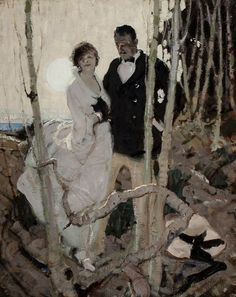 Moonlit Couple, circa 1920, oil on canvas 30 x 24 in. by Dean Cornwell (American, 1892-1960)