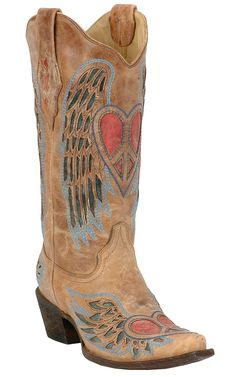 Corral®Ladies Distressed Tan Peace Heart boots at Cavender's Boot City, Love!!