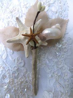 Sea Shell Boutonniere Grooms Boutonniere Starfish by BoHoBridal, $15.00