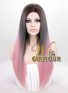 Long Straight Brown Grey Roots with Pink Lace Front Synthetic Hair Wig Synthetic Lace Front Wigs, Synthetic Hair, Blonde Ombre, Silky Hair, Pink Lace, Wig Hairstyles, Brown And Grey, Aurora Sleeping Beauty, Hair Styles