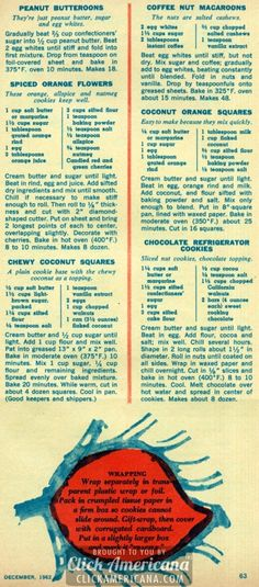 Peanut Butteroons, Coffee-Nut Macaroons, Spiced Orange Flowers, Coconut Orange Squares, Chewy Coconut Squares, Chocolate Refrigerator Cookies | 36 Christmas cookie recipes children will love (1962)
