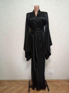 Пеньюар из натурального шелка. Длинный халат Меган – купить в интернет-магазине на Ярмарке Мастеров с доставкой