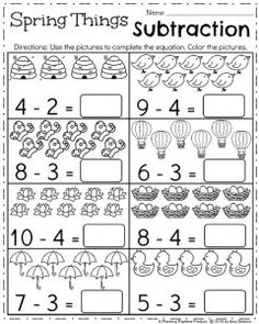 April Kindergarten Worksheets Spring Things Subtraction