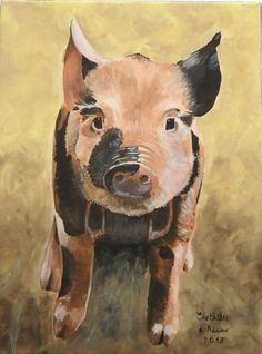 Baby Pig Farm Animal Original Painting by Clothilde by Ninidamour, $145.00
