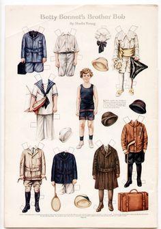 Vintage Betty Bonnet 039 S Brother BOB Paper Dolls Page 1915 Plus Thanksgiving Feast | eBay
