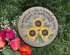 SUNFLOWER Memorial Stone, Memorial Garden Stone, Memorial Gift, Memorial Gifts, gift ideas for memorials, Sympathy Gift, Condolences Gift by samdesigns22 on Etsy Condolence Gift, Sympathy Gifts, Painted Stepping Stones, Painted Rocks, Memorial Garden Stones, Memorial Gardens, Retirement Gifts For Women, In Memory Of Dad, Hand Painted Wine Glasses