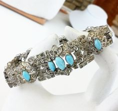 Art Deco Blue Pave Rhinestone Silver Tone Panel Bracelet Milk Glass Navette  #NotSigned #ArtDeco