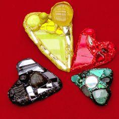 Andrew Logan Heart brooches
