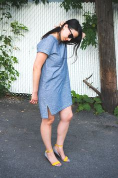 Inari Tee dress in linen // Named sewing pattern // Closet Case Files Colored Denim, Tee Dress, Work Wardrobe, Neon Yellow, Tees, Shirts, Sewing Patterns, Summer, How To Wear