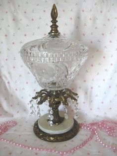 Brass Crystal Marble Lg Pedestal Floral Candy Dish/Covered Compote Comport Crystal Prisms Vintage 1950's Ornate Victorian Hollywood Regency by VintageChicPleasures on Etsy