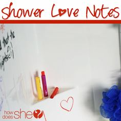 Awesome Bridal shower gift...Towel Set + Bath/Window Crayons...wrapped with a pretty bow! Shower Love Notes!!